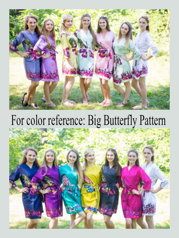 Teal Button Me Down Style Caftan in Big Butterfly Pattern