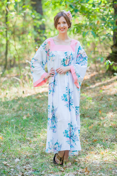 White Fire Maiden Style Caftan in Blooming Flowers Pattern