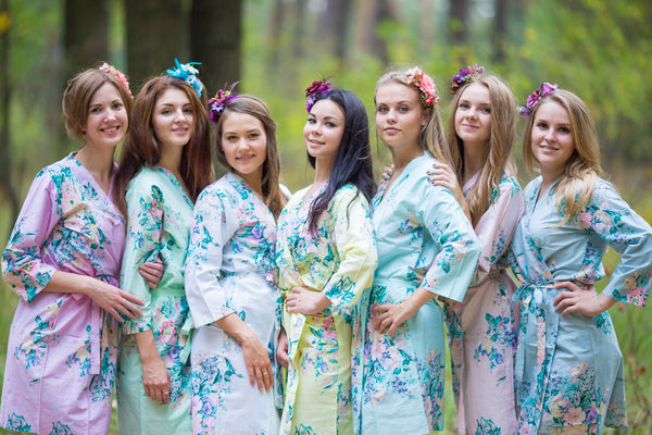 Mint Blooming Flowers Pattern Bridesmaids Robes
