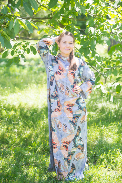 Gray Charming Collars Style Caftan in Butterfly Baby Pattern