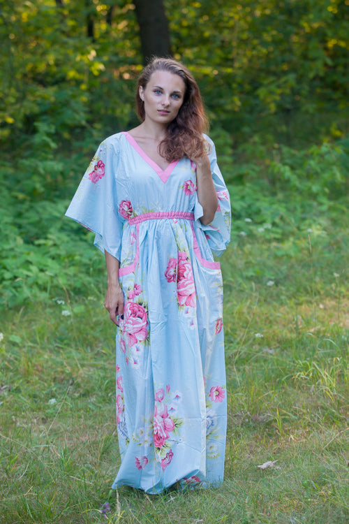 Light Blue Breezy Bohemian Style Caftan in Cabbage Roses Pattern