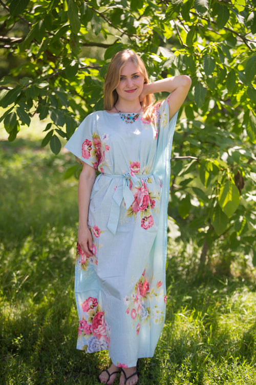 Light Blue Divinely Simple Style Caftan in Cabbage Roses Pattern|Light Blue Divinely Simple Style Caftan in Cabbage Roses Pattern|Cabbage Roses