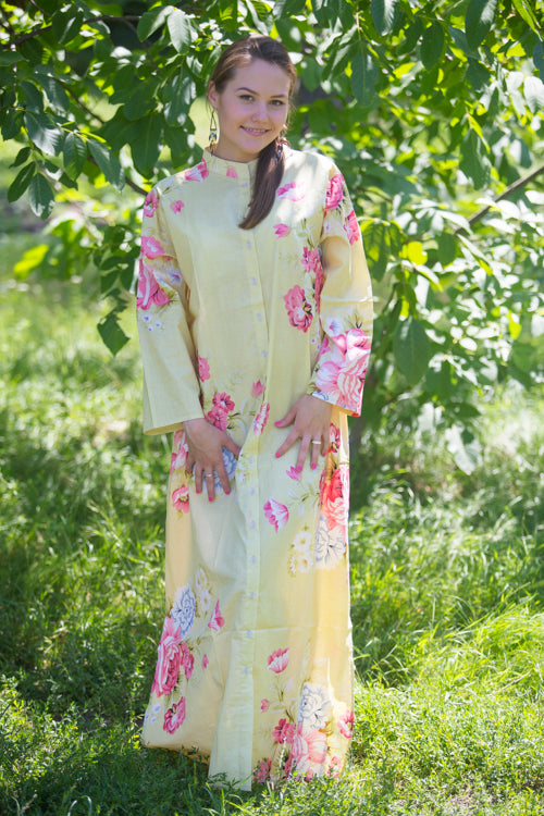 Light Yellow Charming Collars Style Caftan in Cabbage Roses Pattern|Light Yellow Charming Collars Style Caftan in Cabbage Roses Pattern|Cabbage Roses