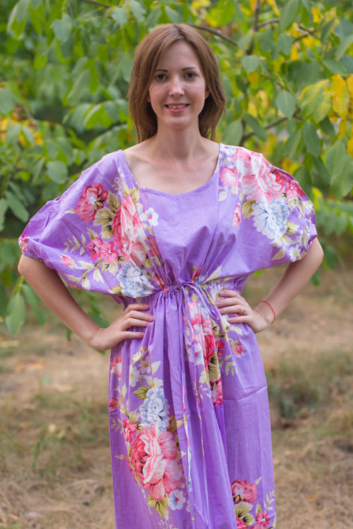 Lilac Cut Out Cute Style Caftan in Cabbage Roses Pattern|Lilac Cut Out Cute Style Caftan in Cabbage Roses Pattern|Cabbage Roses