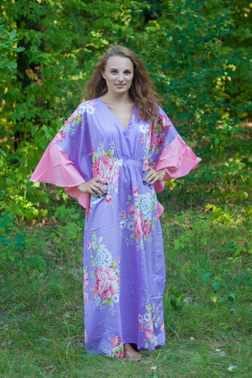 Lilac Ballerina Style Caftan in Cabbage Roses