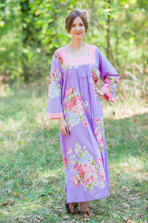 Lilac Fire Maiden Style Caftan in Cabbage Roses Pattern
