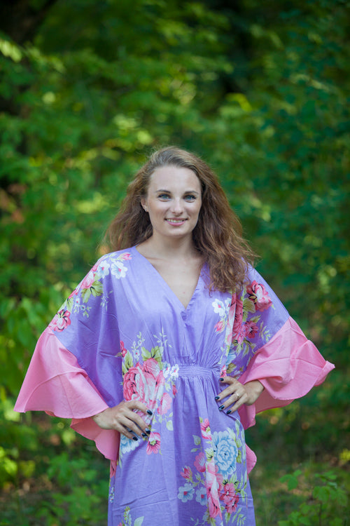 Lilac Ballerina Style Caftan in Cabbage Roses|Lilac Ballerina Style Caftan in Cabbage Roses|Cabbage Roses