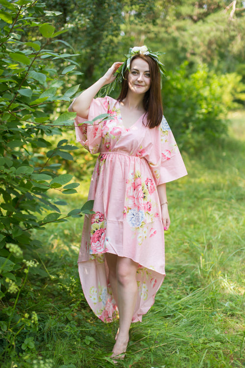 Peach High Low Wind Flow Style Caftan in Cabbage Roses Pattern