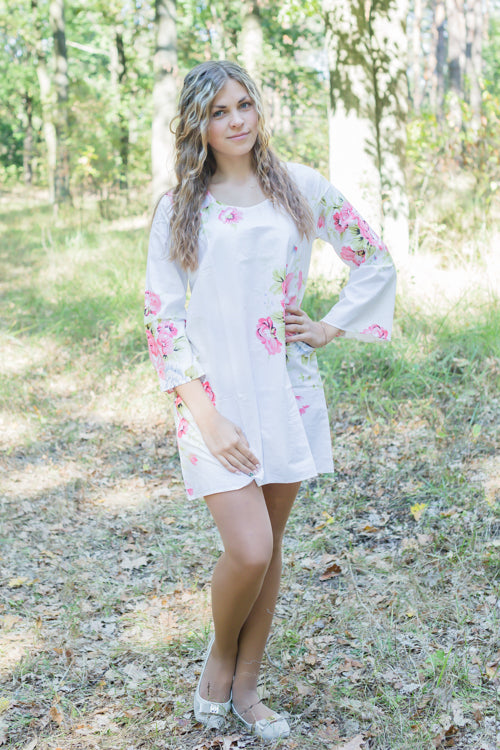 White Bella Tunic Style Caftan in Cabbage Roses Pattern