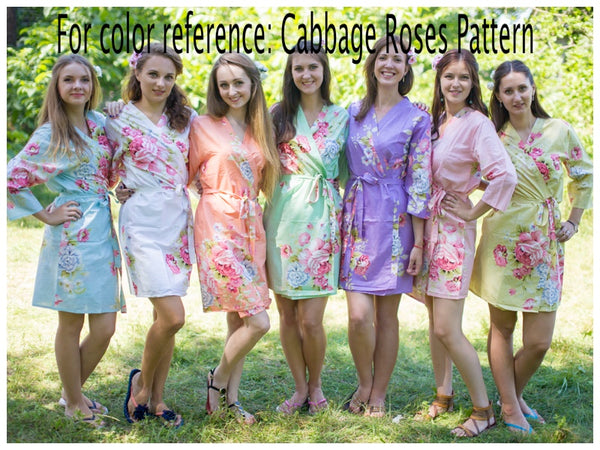 Mismatched Cabbage Roses Patterned Bridesmaids Robes in Soft Tones