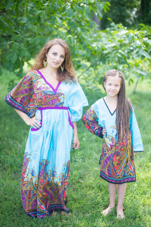 Light Blue Breezy Bohemian Style Caftan in Cheerful Paisleys Pattern|Light Blue Breezy Bohemian Style Caftan in Cheerful Paisleys Pattern|Cheerful Paisleys