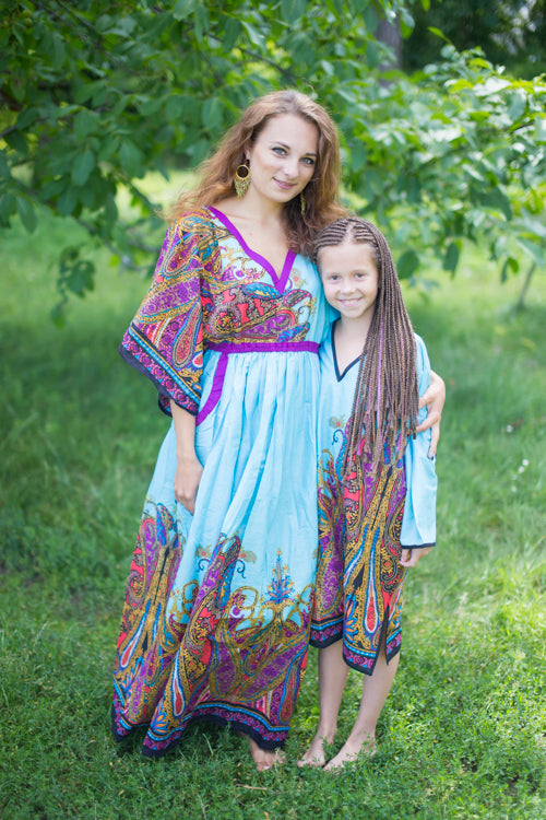 Light Blue Breezy Bohemian Style Caftan in Cheerful Paisleys Pattern