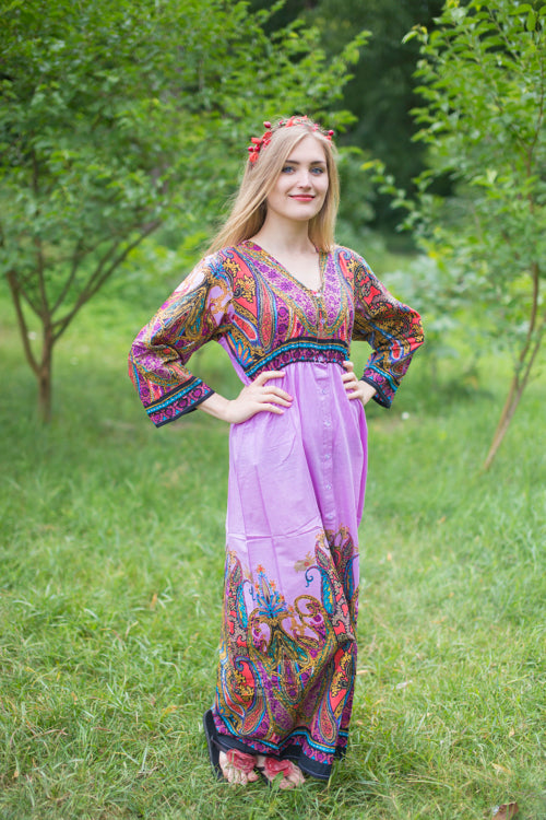 Lilac Button Me Down Style Caftan in Cheerful Paisleys Pattern|Lilac Button Me Down Style Caftan in Cheerful Paisleys Pattern|Cheerful Paisleys