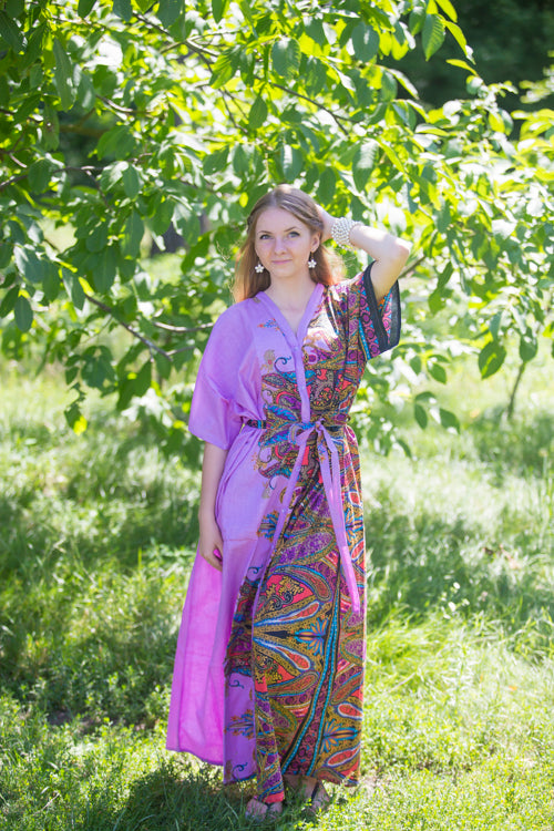 Lilac Best of both the worlds Style Caftan in Cheerful Paisleys Pattern