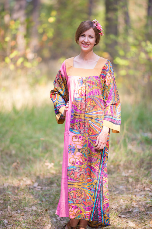 Pink Fire Maiden Style Caftan in Cheerful Paisleys Pattern