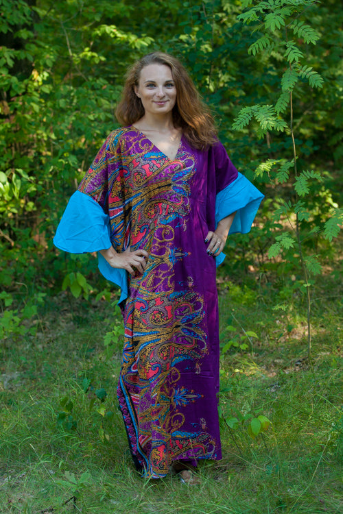 Purple Ballerina Style Caftan in Cheerful Paisleys