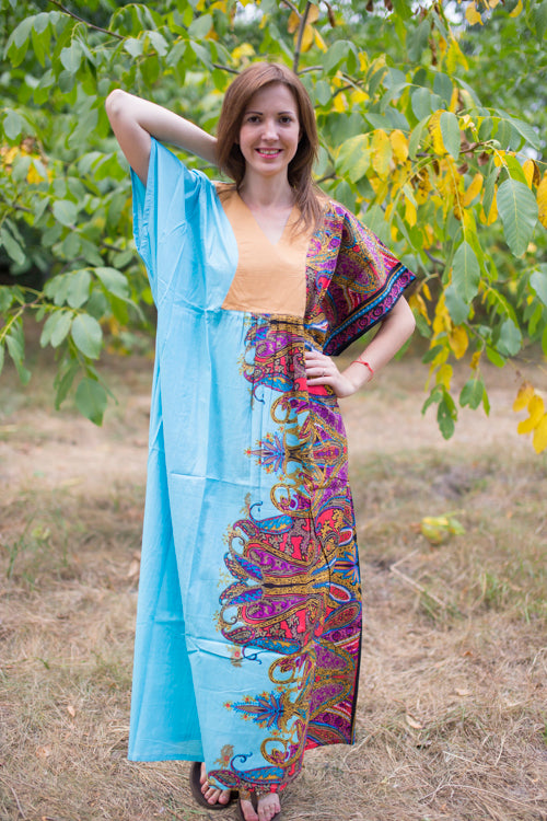 Light Blue Flowing River Style Caftan in Cheerful Paisleys Pattern