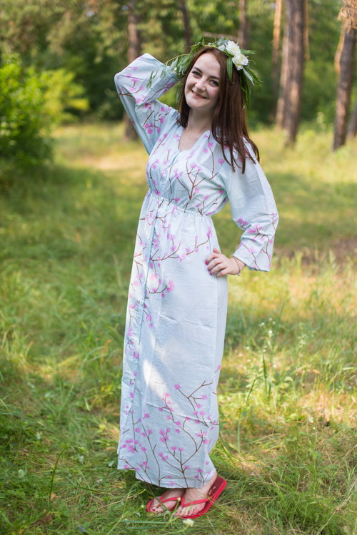 Light Blue Button Me Down Style Caftan in Cherry Blossoms Pattern|Light Blue Button Me Down Style Caftan in Cherry Blossoms Pattern|Cherry Blossoms