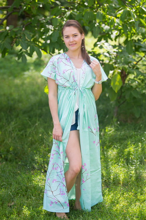 Mint Beach Days Style Caftan in Cherry Blossoms|Mint Beach Days Style Caftan in Cherry Blossoms|Cherry Blossoms