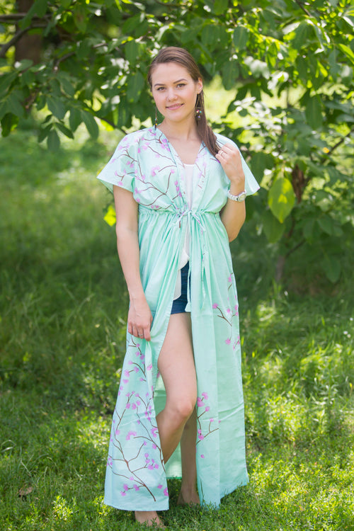 Mint Beach Days Style Caftan in Cherry Blossoms