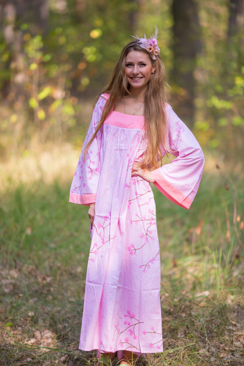 Pink Fire Maiden Style Caftan in Cherry Blossoms Pattern