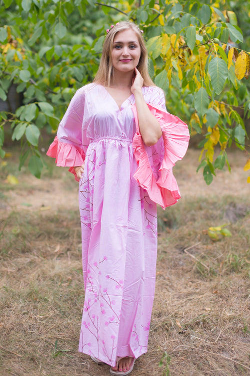 Pink Frill Lovers Style Caftan in Cherry Blossoms Pattern