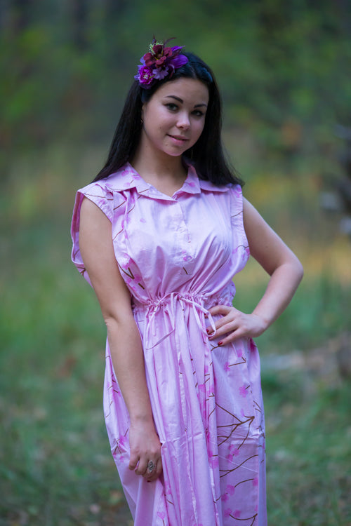 Pink Cool Summer Style Caftan in Cherry Blossoms Pattern