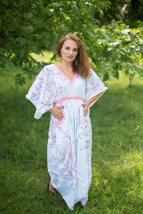 White Breezy Bohemian Style Caftan in Cherry Blossoms Pattern