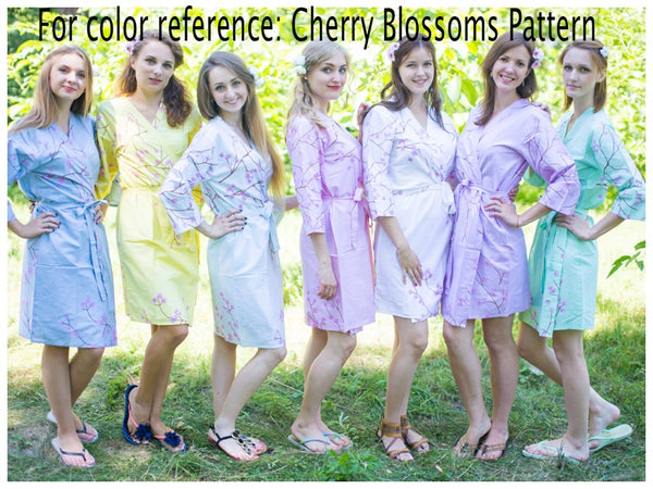 Light Blue Button Me Down Style Caftan in Cherry Blossoms Pattern