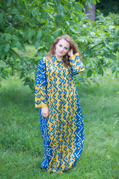 Mustard Blue Charming Collars Style Caftan in Chevron Dots Pattern|Mustard Blue Charming Collars Style Caftan in Chevron Dots Pattern|Chevron Dots