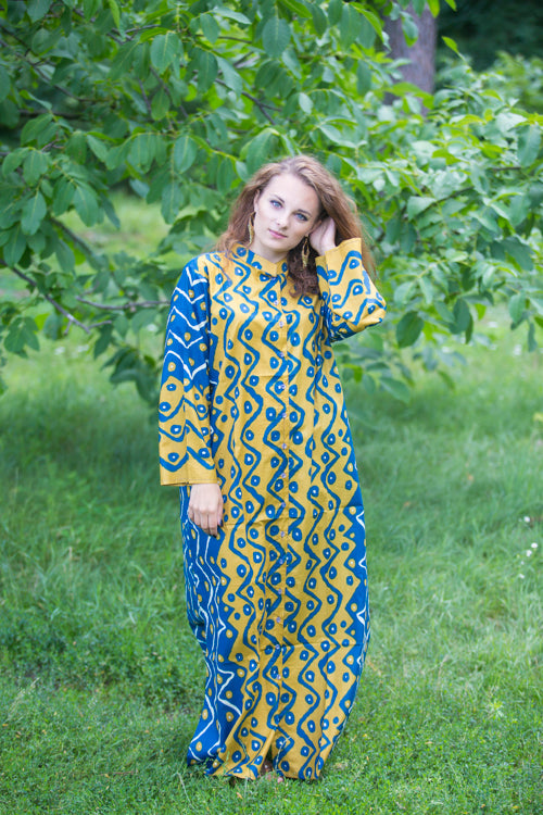 Mustard Blue Charming Collars Style Caftan in Chevron Dots Pattern