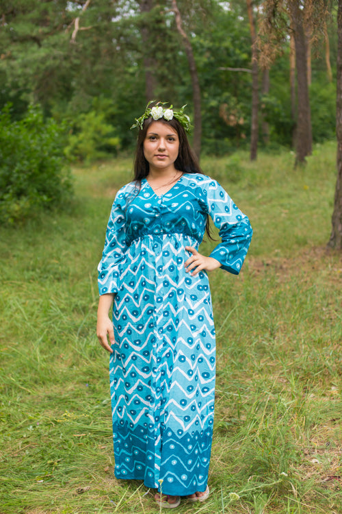 Teal Button Me Down Style Caftan in Chevron Dots Pattern|Teal Button Me Down Style Caftan in Chevron Dots Pattern|Chevron Dots