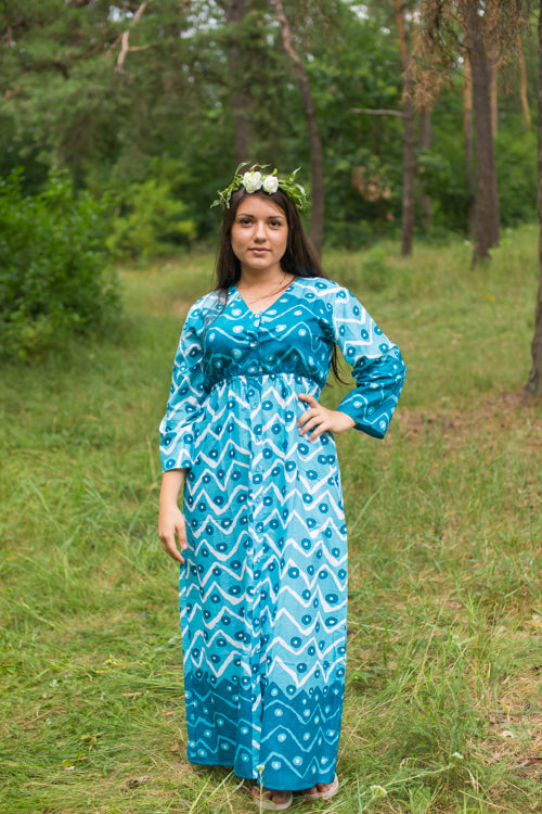 Teal Button Me Down Style Caftan in Chevron Dots Pattern