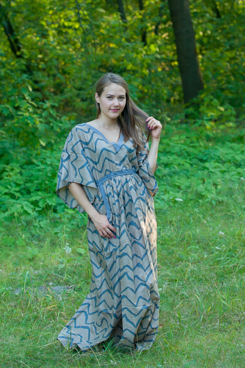 Gray Breezy Bohemian Style Caftan in Chevron Pattern|Chevron