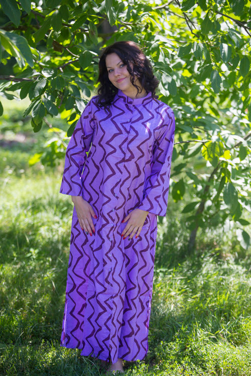 Lilac Charming Collars Style Caftan in Chevron Pattern|Lilac Charming Collars Style Caftan in Chevron Pattern|Chevron