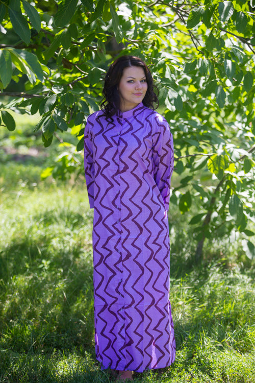 Lilac Charming Collars Style Caftan in Chevron Pattern