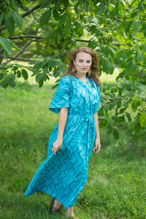 Teal Best of both the worlds Style Caftan in Chevron Pattern|Teal Best of both the worlds Style Caftan in Chevron Pattern|Chevron