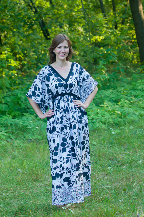White Breezy Bohemian Style Caftan in Classic White Black Pattern
