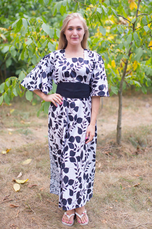 White Beauty, Belt and Beyond Style Caftan in Classic White Black