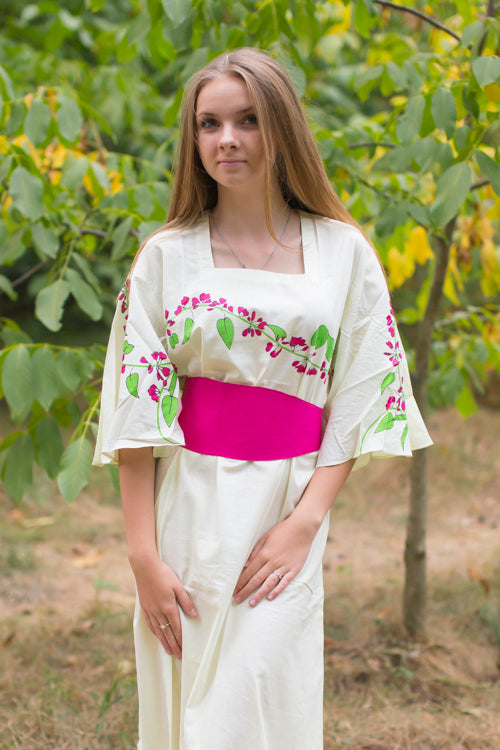 Light Yellow Beauty, Belt and Beyond Style Caftan in Climbing Vines|Light Yellow Beauty, Belt and Beyond Style Caftan in Climbing Vines|Climbing Vines