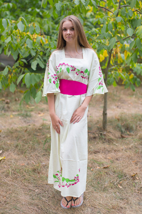 Light Yellow Beauty, Belt and Beyond Style Caftan in Climbing Vines