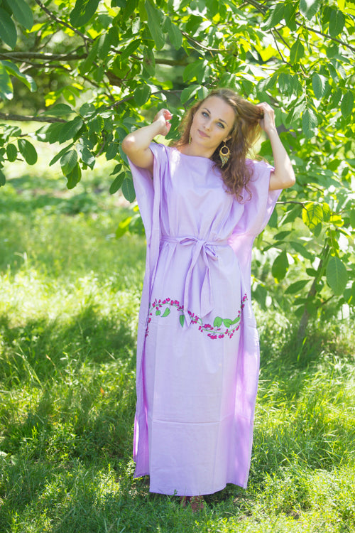 Lilac Divinely Simple Style Caftan in Climbing Vines Pattern