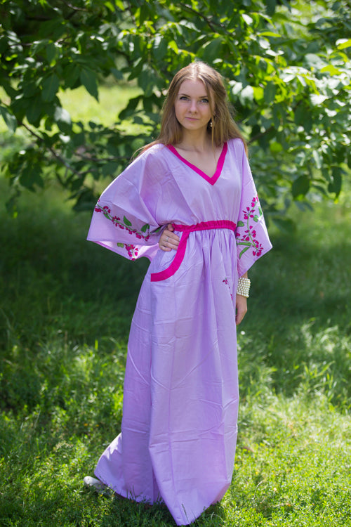 Lilac Breezy Bohemian Style Caftan in Climbing Vines Pattern|Lilac Breezy Bohemian Style Caftan in Climbing Vines Pattern|Climbing Vines