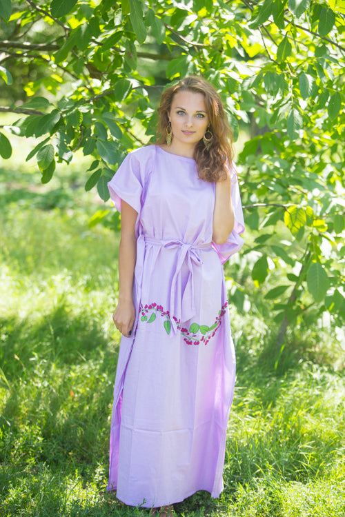 Lilac Divinely Simple Style Caftan in Climbing Vines Pattern|Lilac Divinely Simple Style Caftan in Climbing Vines Pattern|Climbing Vines