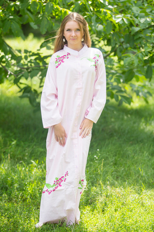 Pink Charming Collars Style Caftan in Climbing Vines Pattern|Pink Charming Collars Style Caftan in Climbing Vines Pattern|Climbing Vines