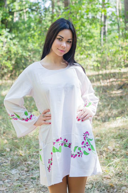 Pink Bella Tunic Style Caftan in Climbing Vines Pattern