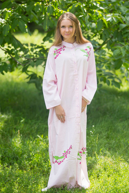 Pink Charming Collars Style Caftan in Climbing Vines Pattern