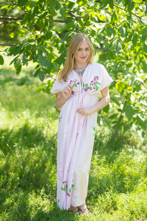 Pink Beach Days Style Caftan in Climbing Vines