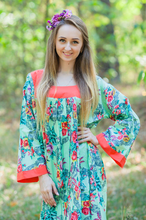 Mint Fire Maiden Style Caftan in Cute Bows Pattern|Mint Fire Maiden Style Caftan in Cute Bows Pattern|Cute Bows