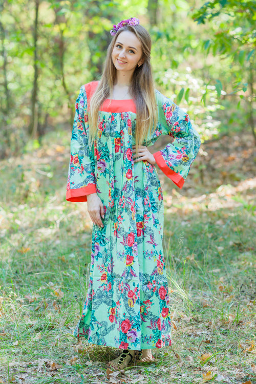 Mint Fire Maiden Style Caftan in Cute Bows Pattern